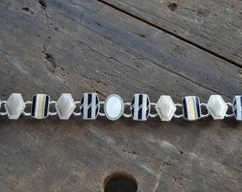 Vintage Art Deco Jewelry Chunky Cufflink Cuff Links Bracelet OOAK Black Stripes Silver & Gold
