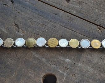 Vintage Art Deco Jewelry Chunky Cufflink Cuff Links Bracelet OOAK Gold Tones & Mother Of Pearl MOP Unique Repurposed Vintage Mens Jewlery