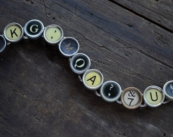Vintage Antique Typewriter Key Bracelet Chunky OOAK Black Cream Keys Random Question Mark Semi Colon Upcycled Recycled Unique Jewelry