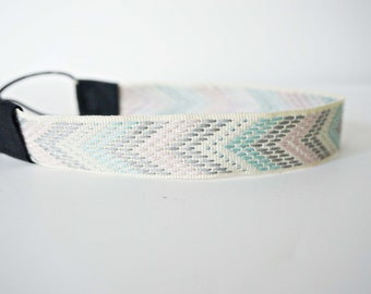 White, Lavender, Light Blue and Grey Woven Tribal Trim Headband