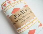 Tribal Print Stretchy Baby Blanket   Swaddle Blanket   Baby Blanket & Hat Gift by JuteBaby