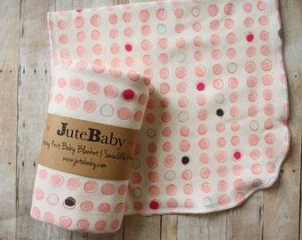 Lipstick Dots Baby Blanket | Swaddle Blanket | Baby Blanket & Hat Gift by JuteBaby