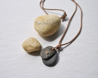 River stone necklace - organic jewelry - urban - zen - men / women - tribal