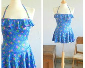 80's RUFFLED SWIM SUIT - Peplum Skirt / Tiny Flower Print / Cute / Feminine / 50s Style / Pinup