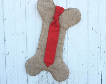 Burlap Dog Bone Christmas Stockings With Tie- For Him-Puppy/Dog Stocking-Choose Your Colors-Rustic/Shabby Chic//Natural