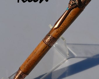 el - Keen Handcrafted Handmade Walnut Mayan Antique Copper Twist Pen