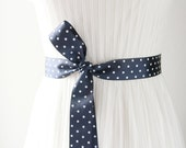 Navy Blue Ribbon Sash Belt - Wedding Dress Belts Sashes - Posh Double Sided White Polka Dots Ribbon Bridal Bridesmaids Flower Girl