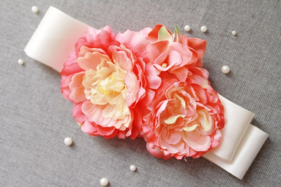 Bridal Coral Flowers Sash Belt - Wedding Dress Belts Sashes - Coral Pink Cherry Ribbon Belt