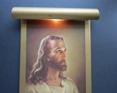 Vintage Illuminated Jesus Print // 1940's 1950's Gold Framed Print with Gallery Light Warner Sallman 1941 Litho Quirky Unusual Wall Art