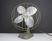 Vintage Metal Fan // Worn Rustic Industrial Silver Gray Dominion Electric Corp. Art Deco Tabletop or Wall Mount Fan Not Tested Needs Work