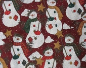 Christmas Cotton Quilting Fabric Holiday Fabric Snowman Fabric Country Fabric Christmas Fabric Yardage - 1 3/8 Yard - HCF1244