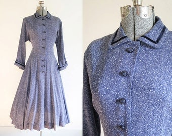 RESERVED FOR CAROLE- 1950's Navy New Look Style Dress Size Large/XLarge