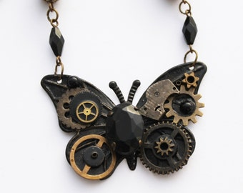 Steampunk Black Brass Butterfly Necklace ~ Black Conqueror Wings
