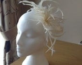 Cream Ivory Sinamay  and Feather Fascinator, Races, Weddings, Prom, Cruise