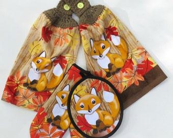 Woodland Fox Combo Pot Holder & Oven Mitt Set of 2