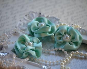 "Set of 3 Aqua Satin Flowers 1.5"", Satin Flower, small fabric flowers, satin ribbon flower, headband, hair accessories, flower accessories"
