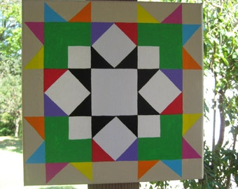 Colorful Quilt Barn Square, Lime Green Quilt Design Painting, American Quilt Decor