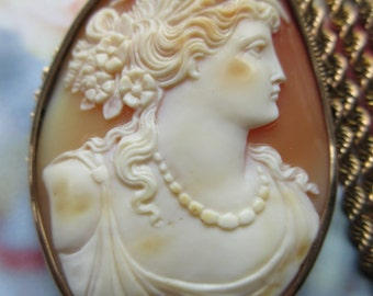 Antique 10K Carved Shell Cameo Pendant -Pin. Gold Fill Chain Necklace, Cameo Necklace, Mythological Cameo, Greek Mythology Jewelry, Estate