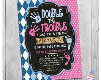 Twin Baby Shower Invitation | Double the Trouble Chalkboard Invitations for Boy Girl Twins | Custom Birthday invites Pink Blue