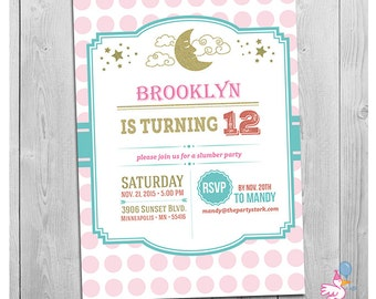 Slumber Party Invitation, Printable Slumber Party Invite, Sleepover Party Invitation - Printable