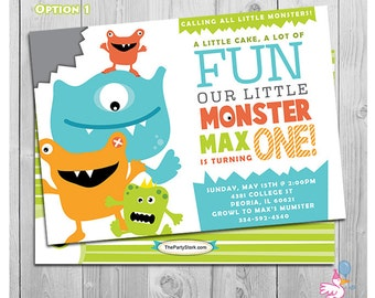 Monster First Birthday Invitation | Printable | Boys 1st Birthday Party Invite | Green Blue Orange Red | Monster Decorations not Included!