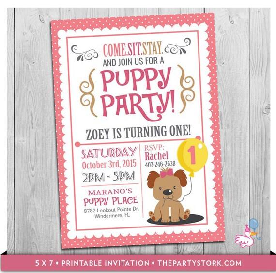 Puppy Invitation Custom Printable Girls First Birthday