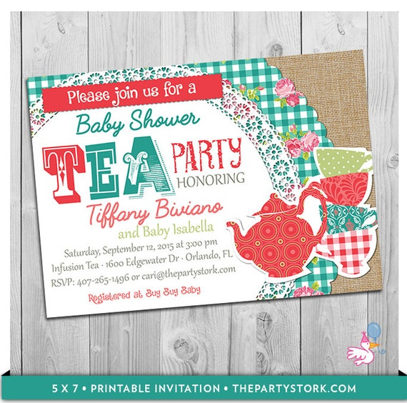 High Tea Invitation Tea Baby Shower Printable Invite Vintage Red