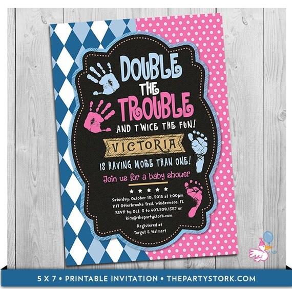 Twin baby shower invitation double the trouble chalkboard il570xn filmwisefo