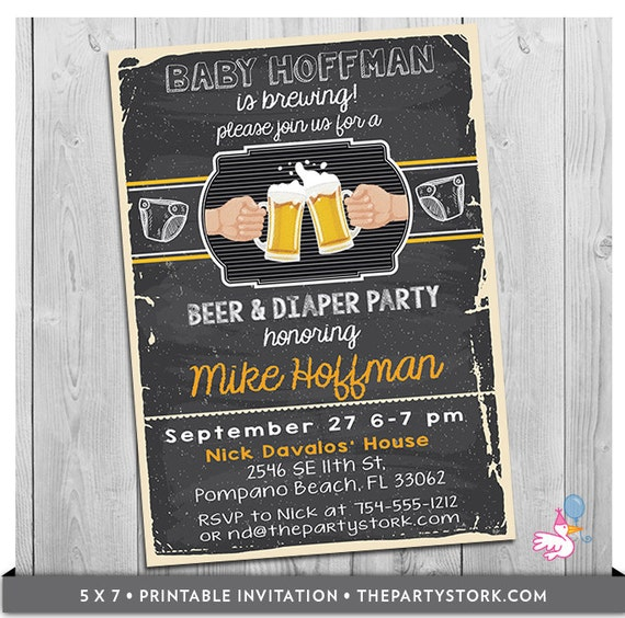 Beer and Diaper Party Invitation Dad Beer Baby Shower Invitation