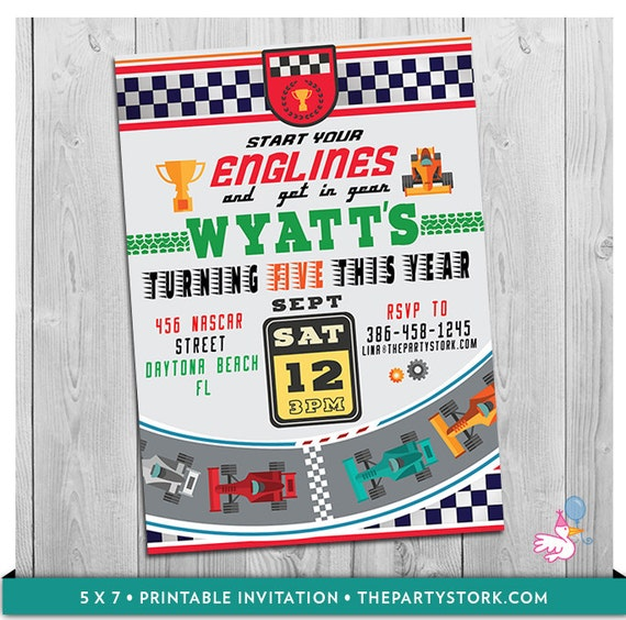 Race Car Invitation Printable Personalized Boys Racing Birthday – Nascar Birthday Invitations