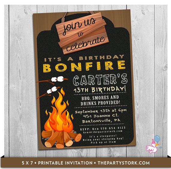 bonfire birthday invitation bonfire invitation campfire invitation