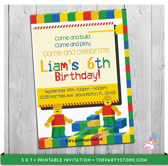 Building Block Party Invitation Custom Printable Boys Birthday – Block Party Invites