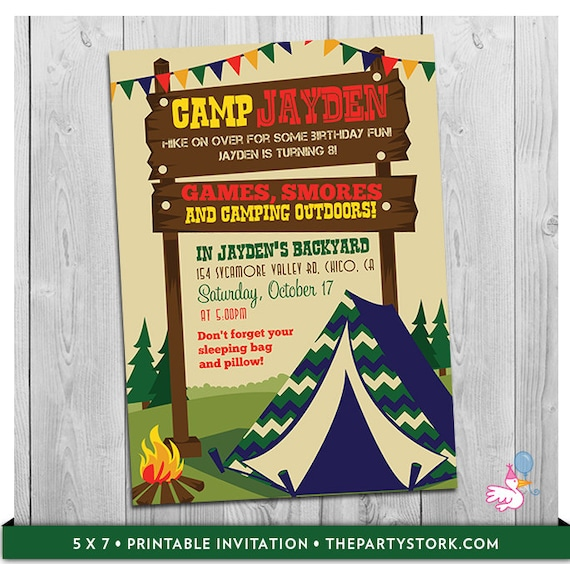 Camping invitation camp invite tent invitation camp invitation il570xn filmwisefo