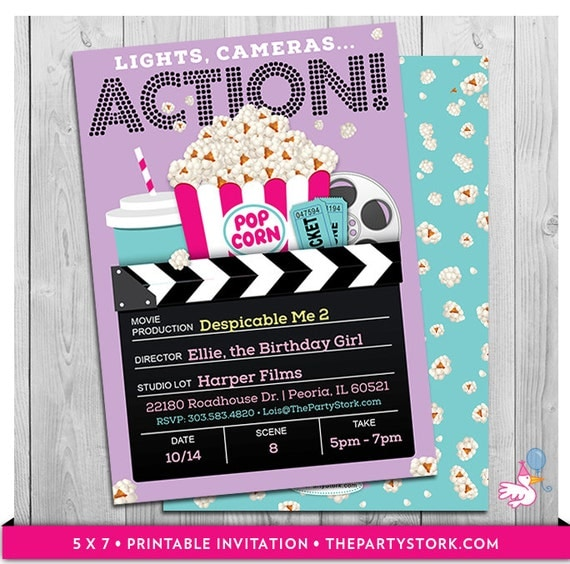 Movie Party Invitations Printable Girls Movie Invite Movie