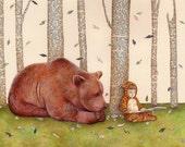 A Story For Bear, Art Print, Whimsical Art, Childrens Art