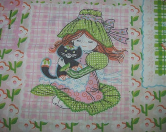 Vintage Pink, Green Twin Flat Sheet/Material - 70's Style Young Girl With Cat, Geese, Butterflies - For Girl's Room - Material