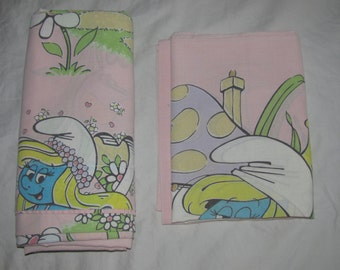 Vintage Peyo Pink Smurfs Twin Flat Sheet & Pillowcase - Lawtex - Smurfette on the Phone, In Bathrobe, Arranging Flowers, etc.