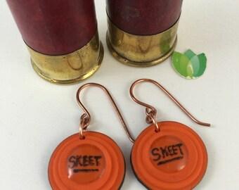 """Trap, Skeet, Sporting Clays, Clay Pigeon Target Orange """"SKEET""""  Earrings Shotgun earrings Made from Polymer clay Handmade 10"""