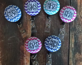 Monogrammed Printed Badge Reel
