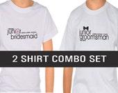 Junior Groomsman Shirt AND Junior Bridesmaid Shirt, Wedding Shirt, Wedding Clothing, Black Bow Tie, Pink Flower
