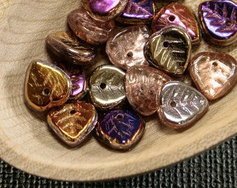 30pc Colorful Leaves 9mm |Glass Bead Leaf | Autumn Flower Petal beads | Copper Purple glass last