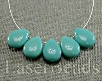 10pc Turquoise blue teardrops 16mm |  Blue glass beads | Turquoise briolette Czech Glass | Opaque Blue beads
