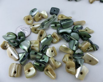 Mother of pearl beige and green chip beads - 83 pcs.  Assorted sizes