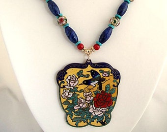 Red Rose Flower Necklace Ethnic Chinese Cloisonne Exotic Bird Jewelry Blue Lapis Red Coral Turquoise Stone Exquisite Slurge Gifts for Her