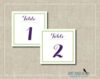 Whimsical Printable Table Numbers 1-30  Lime Green and Purple Wedding or Event Table Numbers - Instant Download