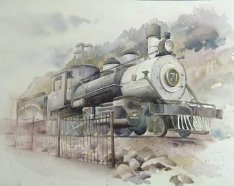 "ORIGINAL Watercolor Painting Train 20"" X 14"" UNFRAMED"