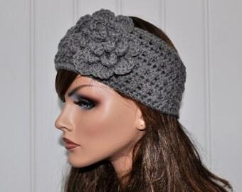 Crochet Ear Warmer, Gift for her, Handmade Crochet Headband,Grey headband, Winter Accessories.