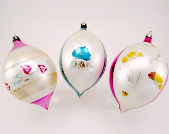 Made in Poland Vintage Blown Glass Christmas Holiday Ornaments Set of 3 Hand Painted Jumbo Size Teardrop