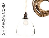 Ship Rope Hand Blown Glass Custom Pendant Light- MADE IN USA