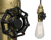Industrial Upcycled Valve Pipe Pendant Light- Brass